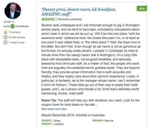 TripAdvisor Comment, December 2016