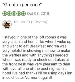 TripAdvisor Comment, October 2016