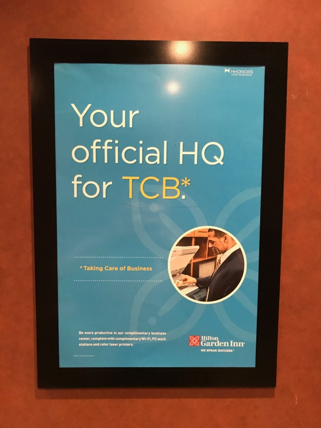 Elevator poster advertising the business center.